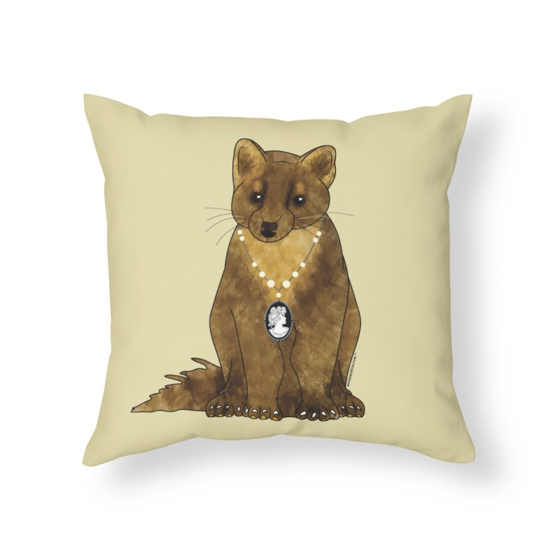 Classy Cameo - Lady Pine Marten Home Throw Pillow by Natina Norton Designs