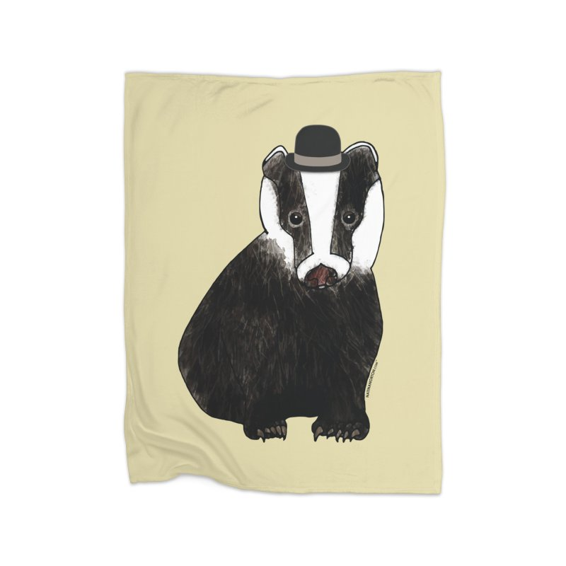 Badger in a Hat - Sir Sherbet Badgerly Home Fleece Blanket Blanket by Natina Norton Designs