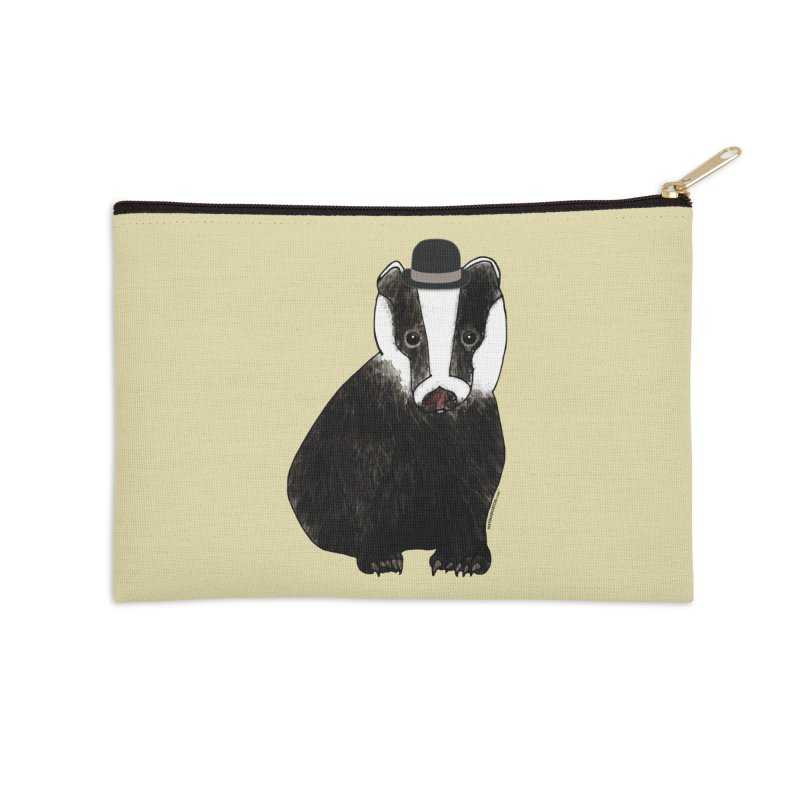 Badger in a Hat - Sir Sherbet Badgerly Accessories Zip Pouch by Natina Norton Designs