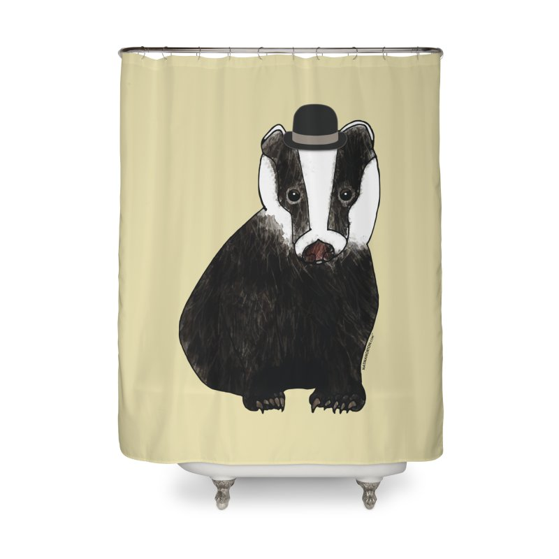 Badger in a Hat - Sir Sherbet Badgerly Home Shower Curtain by Natina Norton Designs