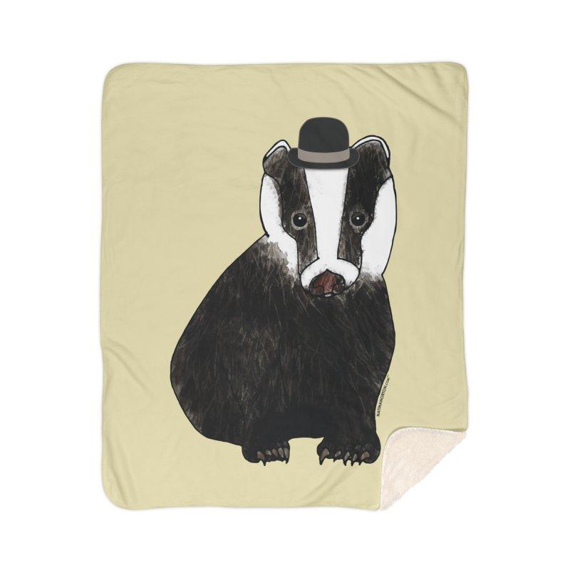 Badger in a Hat - Sir Sherbet Badgerly Home Sherpa Blanket Blanket by Natina Norton Designs