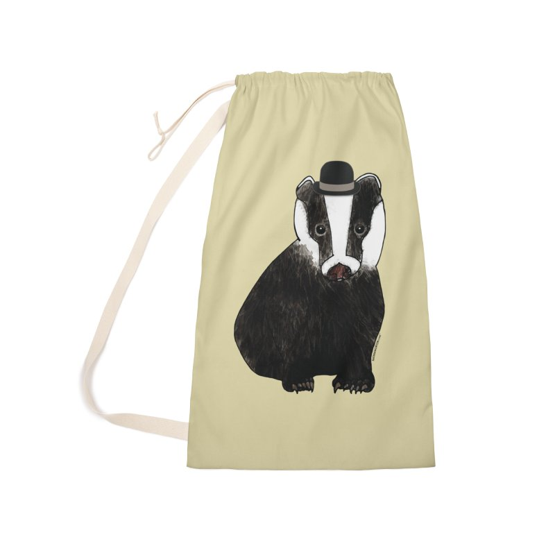 Badger in a Hat - Sir Sherbet Badgerly Accessories Laundry Bag Bag by Natina Norton Designs
