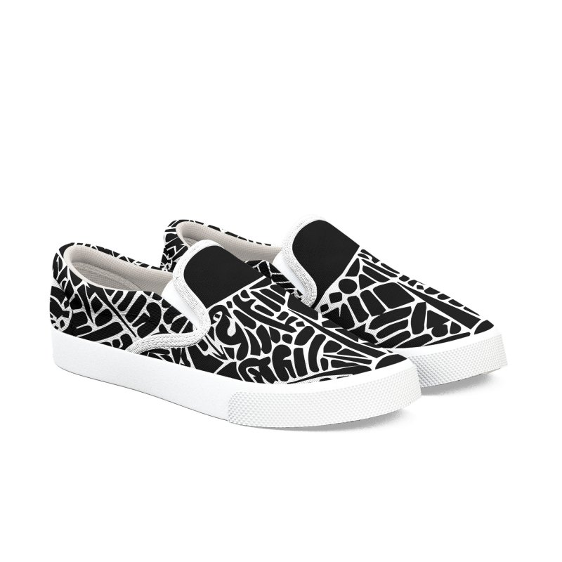 Stream of Consciousness Mural - Black & White Men's Slip-On Shoes by Natina Norton Designs