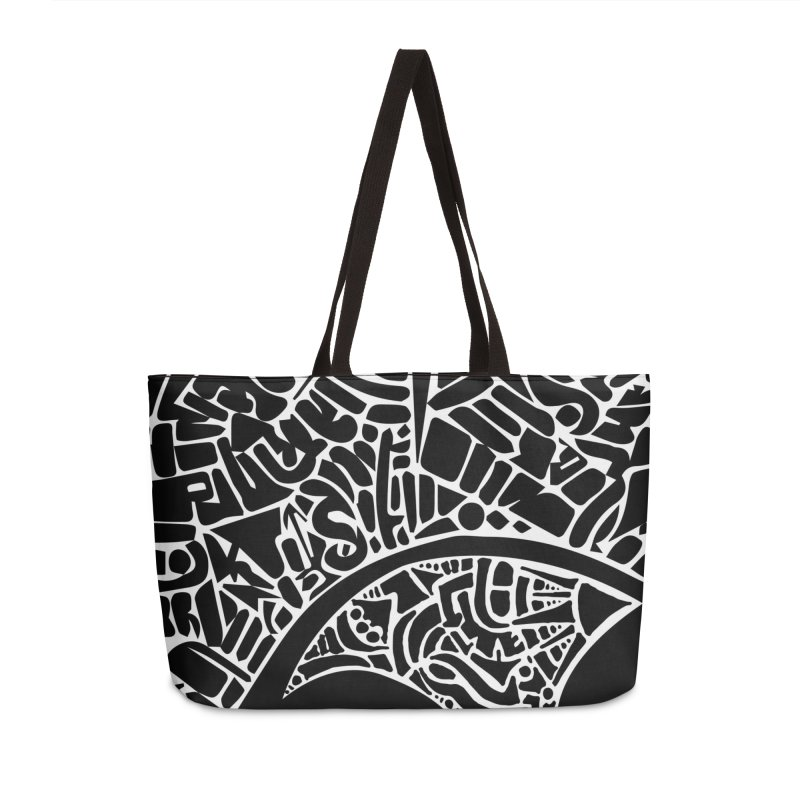 Stream of Consciousness Mural - Black & White Accessories Weekender Bag Bag by Natina Norton Designs