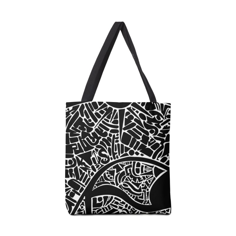 Stream of Consciousness Mural - Black & White Accessories Tote Bag Bag by Natina Norton Designs