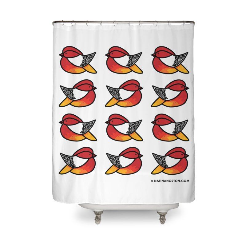Chubby Birds Home Shower Curtain by Natina Norton Designs