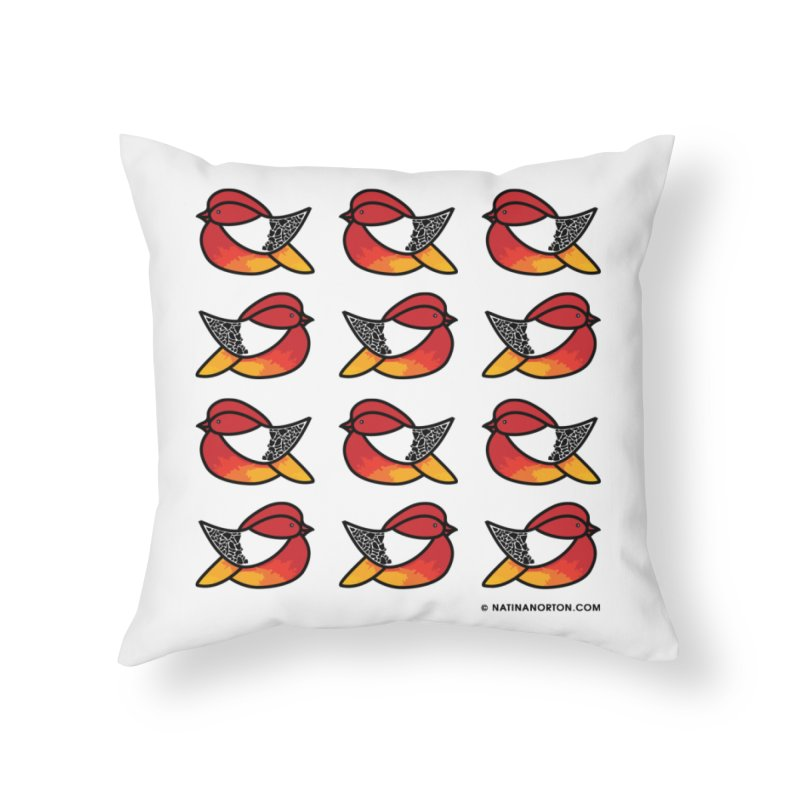 Chubby Birds Home Throw Pillow by Natina Norton Designs