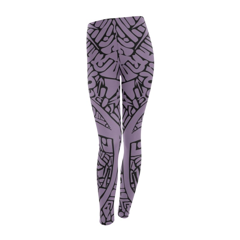 Stream of Consciousness Mural - Purple & Black Women's Leggings Bottoms by Natina Norton Designs