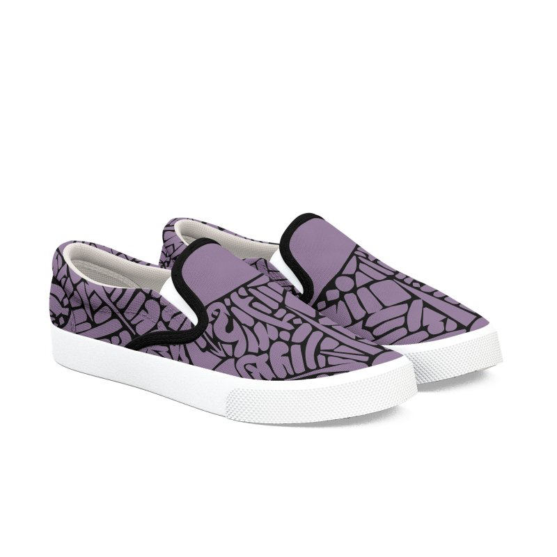 Stream of Consciousness Mural - Purple & Black Women's Slip-On Shoes by Natina Norton Designs