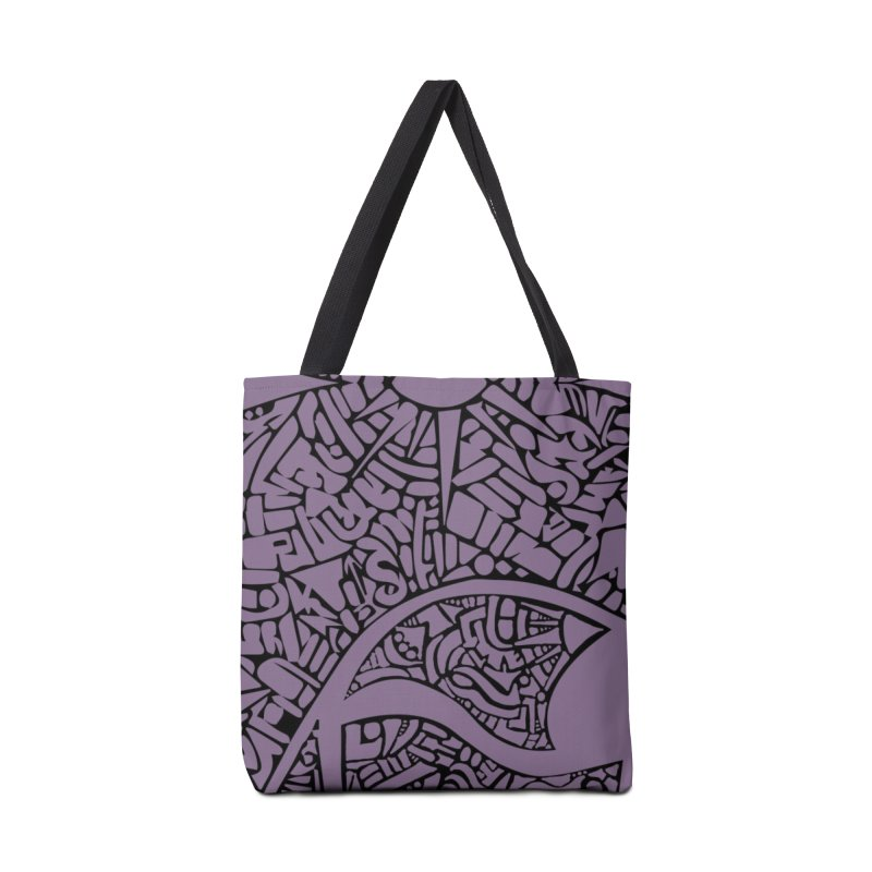 Stream of Consciousness Mural - Purple & Black Accessories Tote Bag Bag by Natina Norton Designs