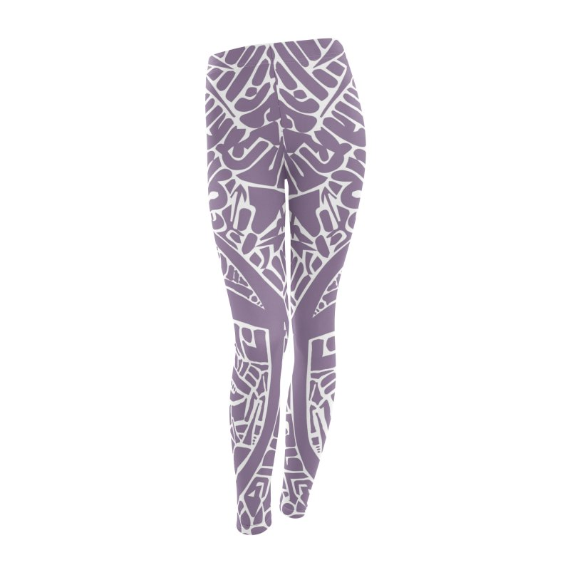 Stream of Consciousness Mural - White & Purple Women's Leggings Bottoms by Natina Norton Designs