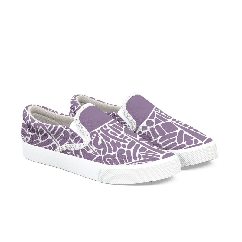 Stream of Consciousness Mural - White & Purple Men's Slip-On Shoes by Natina Norton Designs