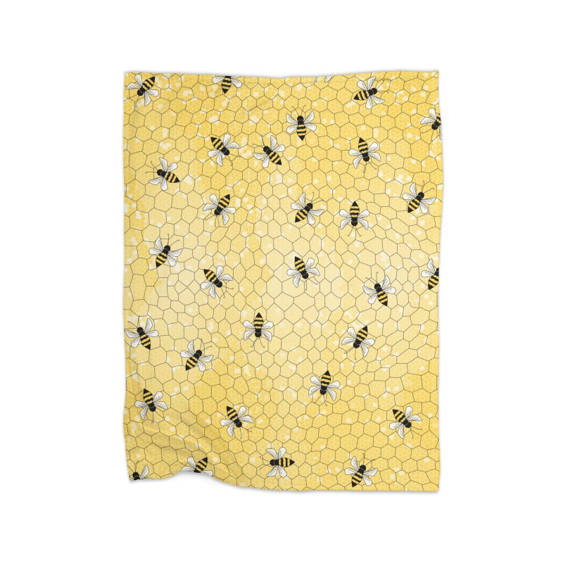 Happy Honey Bees Home Fleece Blanket Blanket by Natina Norton Designs