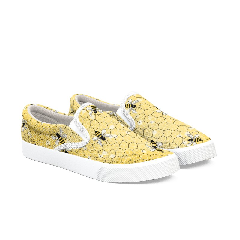Happy Honey Bees Men's Slip-On Shoes by Natina Norton Designs