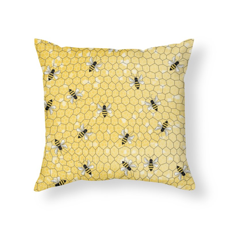 Happy Honey Bees Home Throw Pillow by Natina Norton Designs