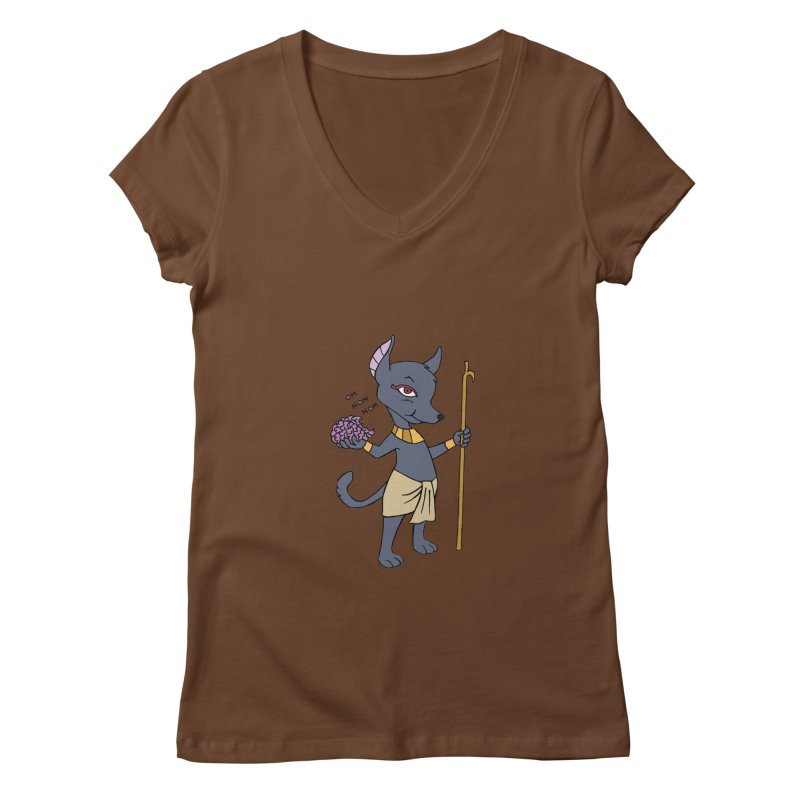 Lil' Anubis Women's Regular V-Neck by Natou's Artist Shop