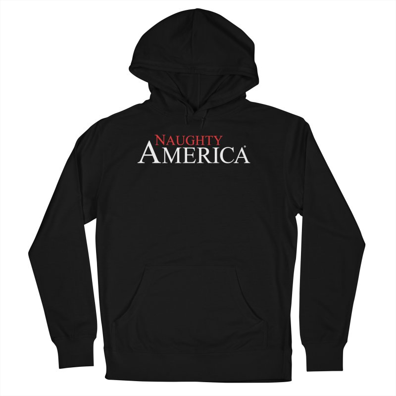Official Naughty America logo t-shirt and hoodies on black or blue in Men's French Terry Pullover Hoody Black by Naughty America Official Merchandise