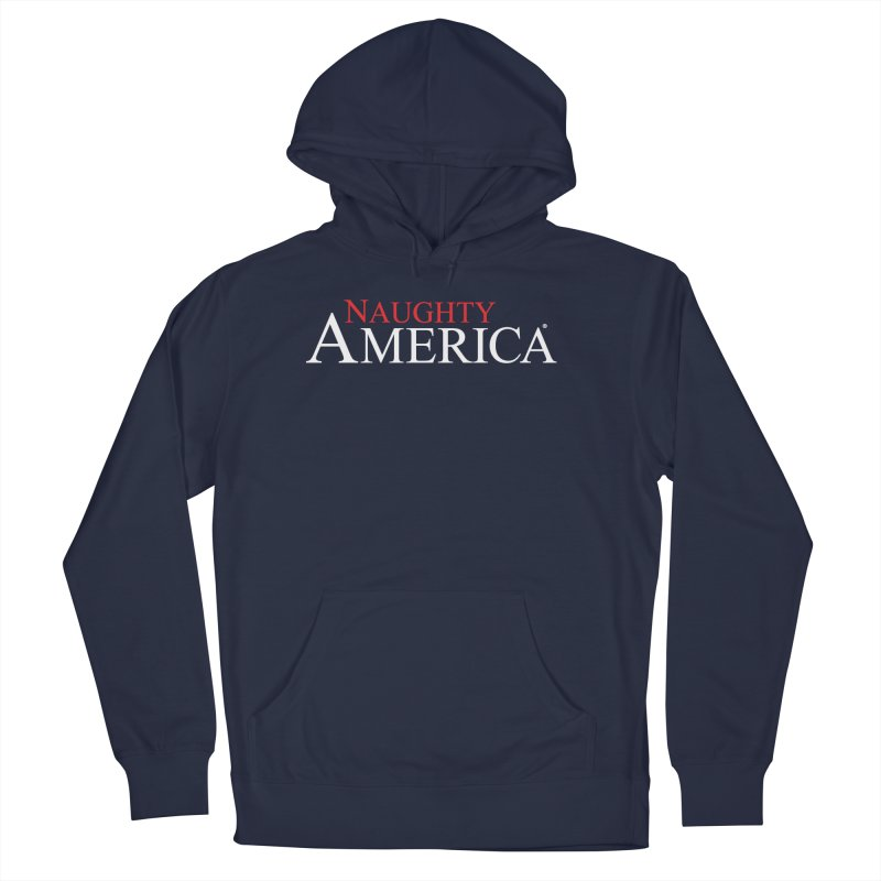 Official Naughty America logo t-shirt and hoodies on black or blue in Men's French Terry Pullover Hoody Navy by Naughty America Official Merchandise