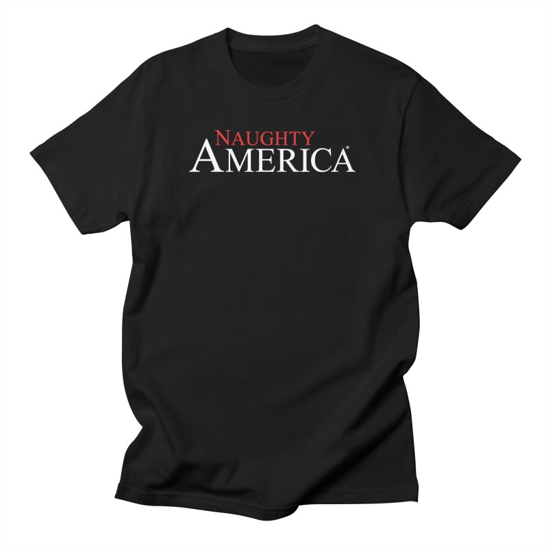 Official Naughty America logo t-shirt and hoodies on black or blue in Men's Regular T-Shirt Black by Naughty America Official Merchandise
