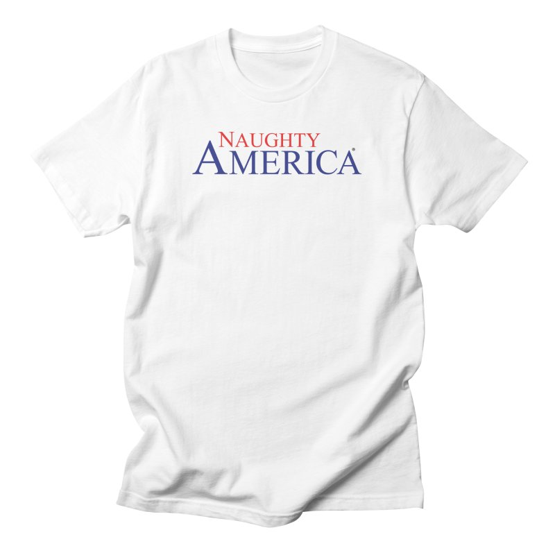 Official Naughty America Logo T-shirt on light colors in Men's Regular T-Shirt White by Naughty America Official Merchandise