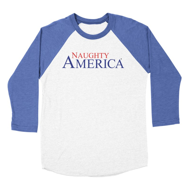 Official Naughty America Logo T-shirt on light colors in Men's Baseball Triblend Longsleeve T-Shirt Tri-Blue Sleeves by Naughty America Official Merchandise