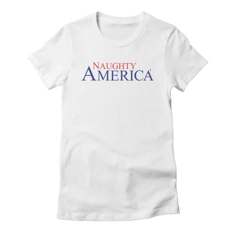 Official Naughty America Logo T-shirt on light colors in Women's Fitted T-Shirt White by Naughty America Official Merchandise