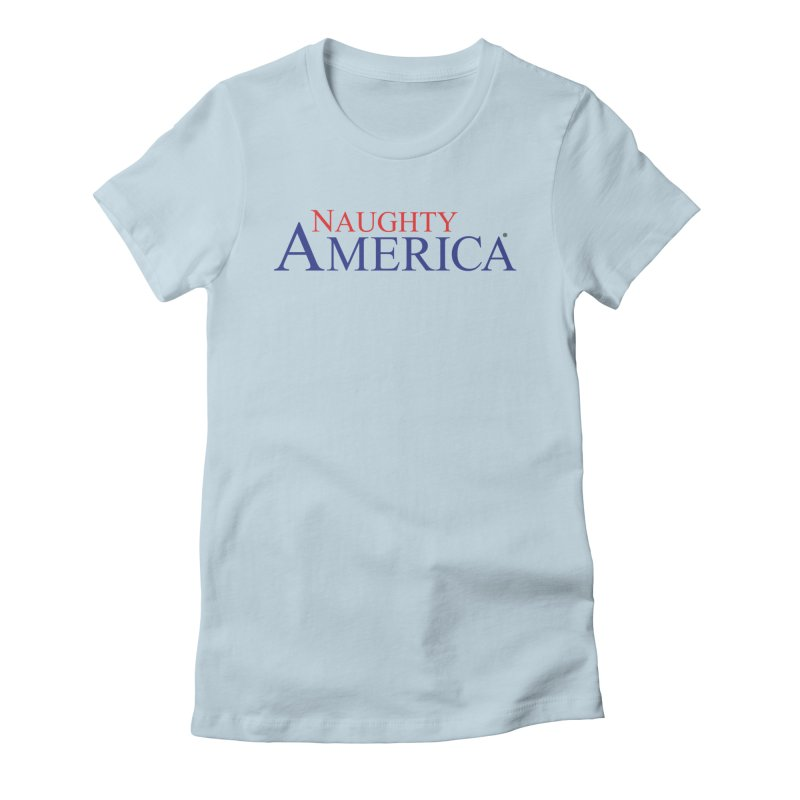 Official Naughty America Logo T-shirt on light colors in Women's Fitted T-Shirt Baby Blue by Naughty America Official Merchandise