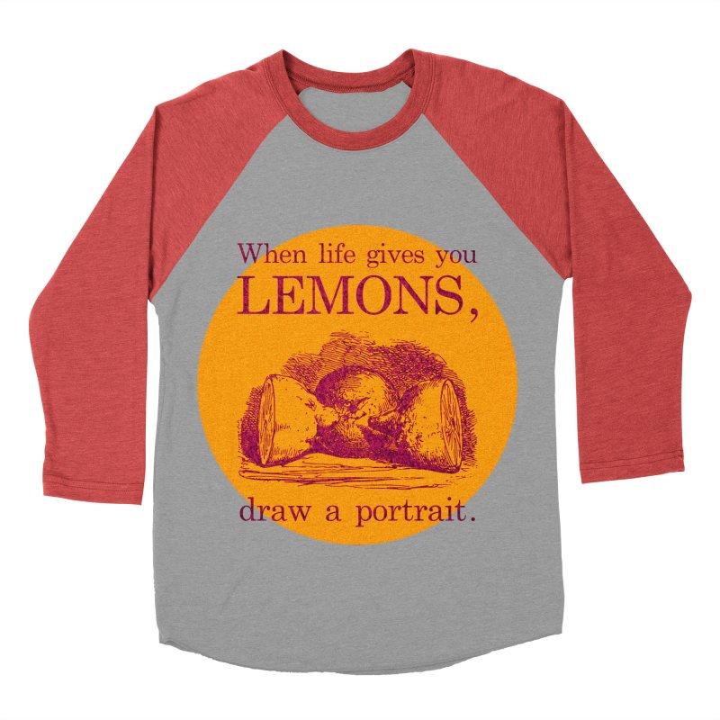 When Life Gives You Lemons, Draw A Portrait Men's Baseball Triblend Longsleeve T-Shirt by navjinderism's Artist Shop
