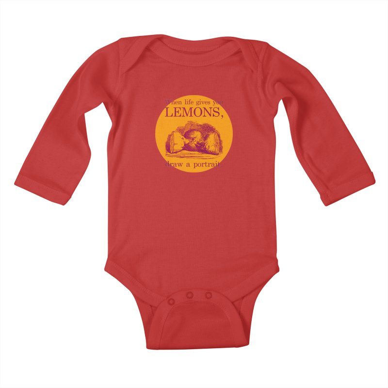 When Life Gives You Lemons, Draw A Portrait Kids Baby Longsleeve Bodysuit by navjinderism's Artist Shop