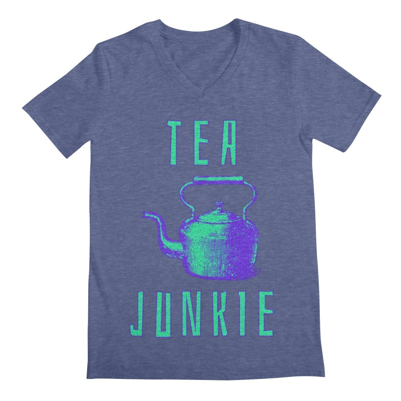 Tea Junkie Men's Regular V-Neck by navjinderism's Artist Shop