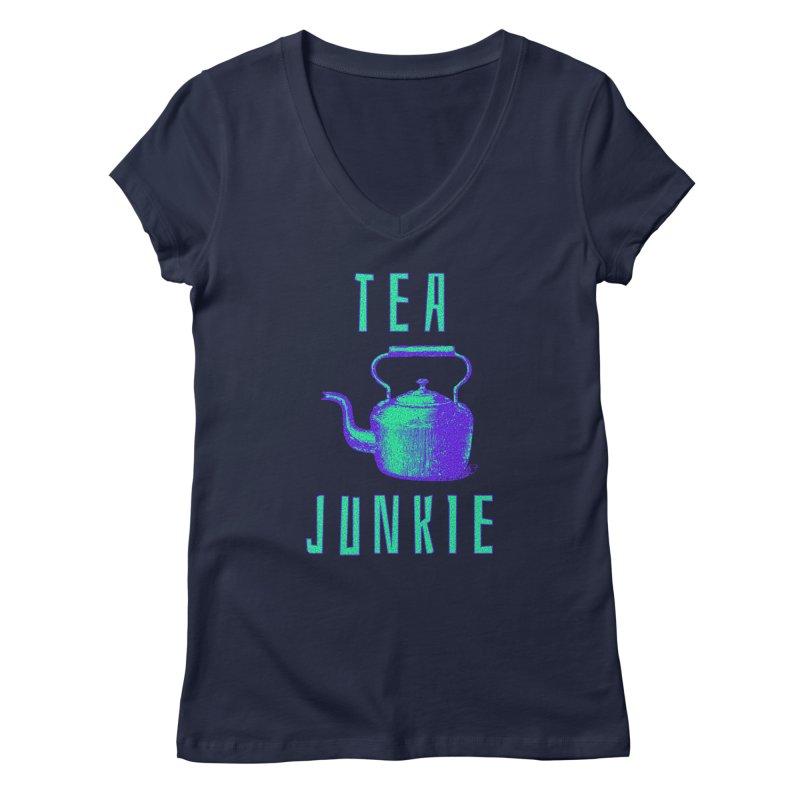 Tea Junkie Women's V-Neck by navjinderism's Artist Shop