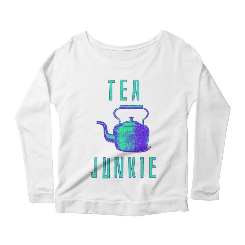 Tea Junkie Women's Scoop Neck Longsleeve T-Shirt by navjinderism's Artist Shop