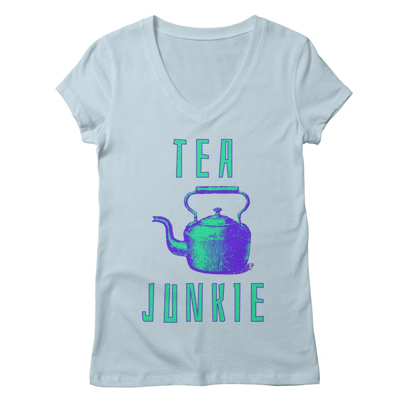 Tea Junkie Women's V-Neck by navjinderism's Artist Shop