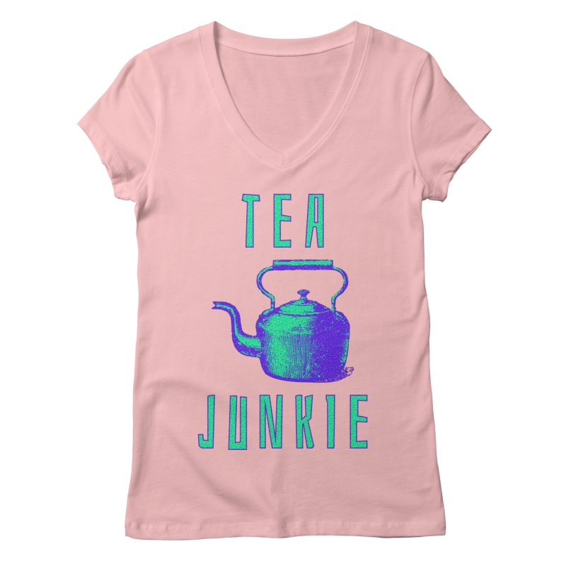 Tea Junkie Women's Regular V-Neck by navjinderism's Artist Shop