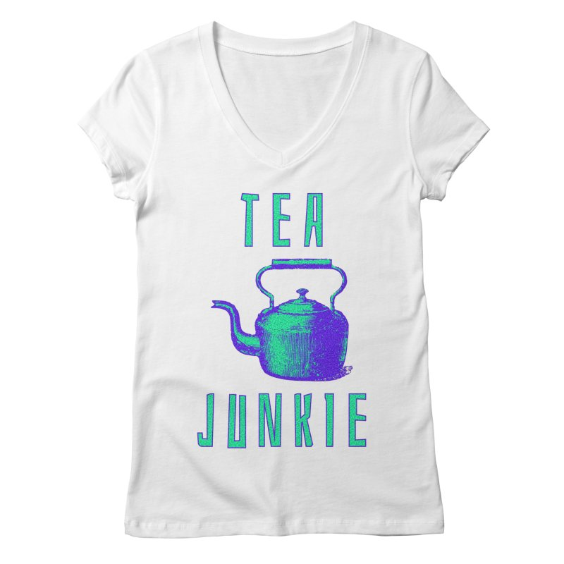 Tea Junkie Women's Regular V-Neck by navjinderism's Artist Shop