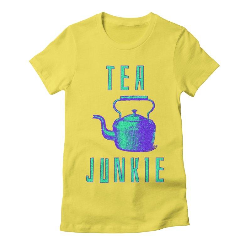 Tea Junkie Women's Fitted T-Shirt by navjinderism's Artist Shop
