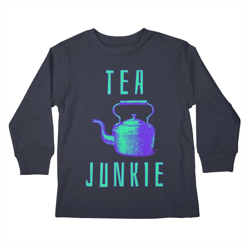 Tea Junkie Kids Longsleeve T-Shirt by navjinderism's Artist Shop