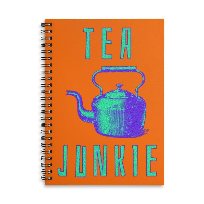 Tea Junkie Accessories Lined Spiral Notebook by navjinderism's Artist Shop