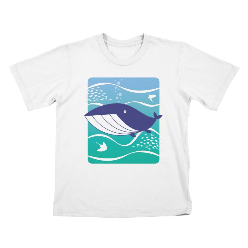 Happy Whale Kids T-Shirt by Nathan Burdette's Artist Shop
