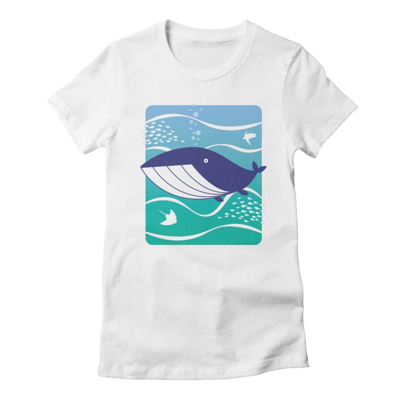 Happy Whale Women's Fitted T-Shirt by Nathan Burdette's Artist Shop