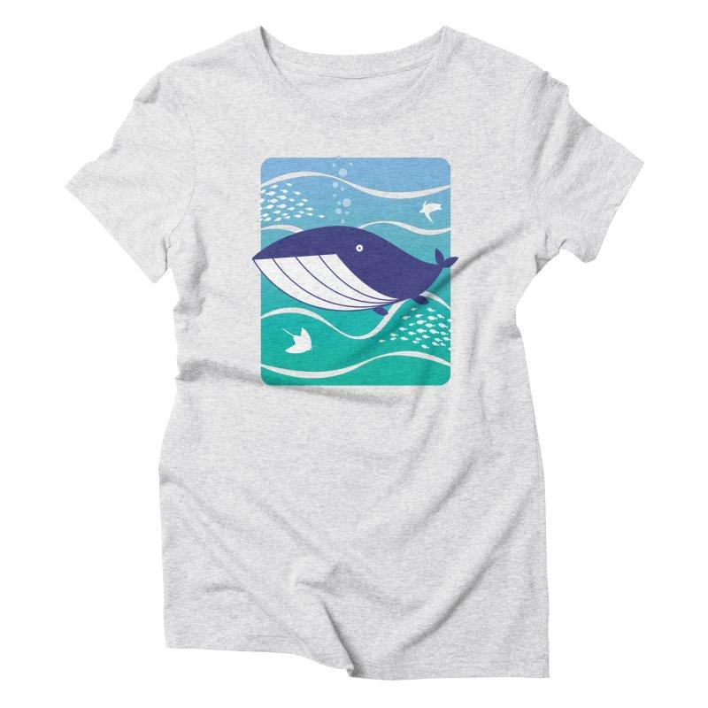 Happy Whale Women's Triblend T-Shirt by Nathan Burdette's Artist Shop