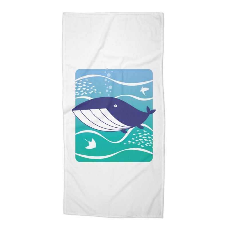 Happy Whale Accessories Beach Towel by Nathan Burdette's Artist Shop