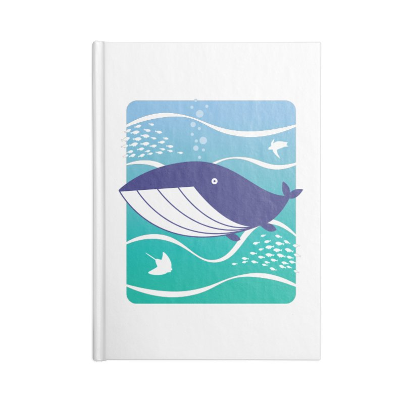 Happy Whale Accessories Notebook by Nathan Burdette's Artist Shop