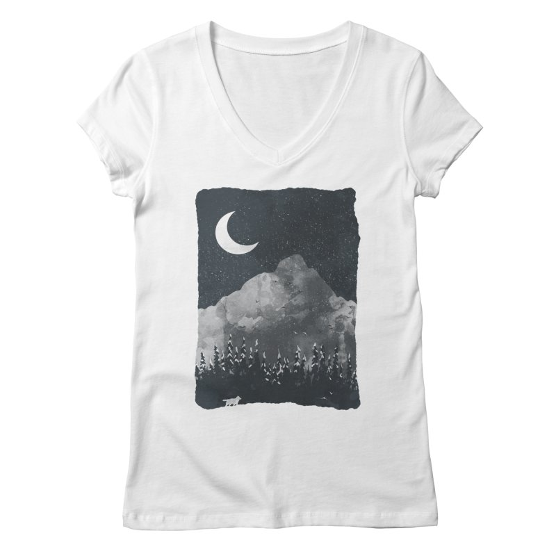 Winter Finds the Wolf... Women's V-Neck by NDTank's Artist Shop