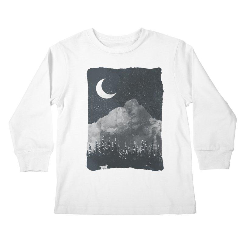 Winter Finds the Wolf... Kids Longsleeve T-Shirt by NDTank's Artist Shop