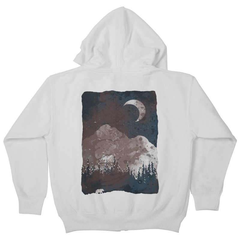 Winter Finds the Bear... Kids Zip-Up Hoody by NDTank's Artist Shop