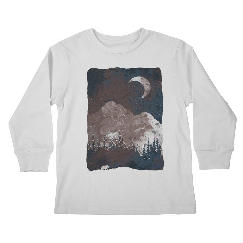 Winter Finds the Bear... Kids Longsleeve T-Shirt by NDTank's Artist Shop