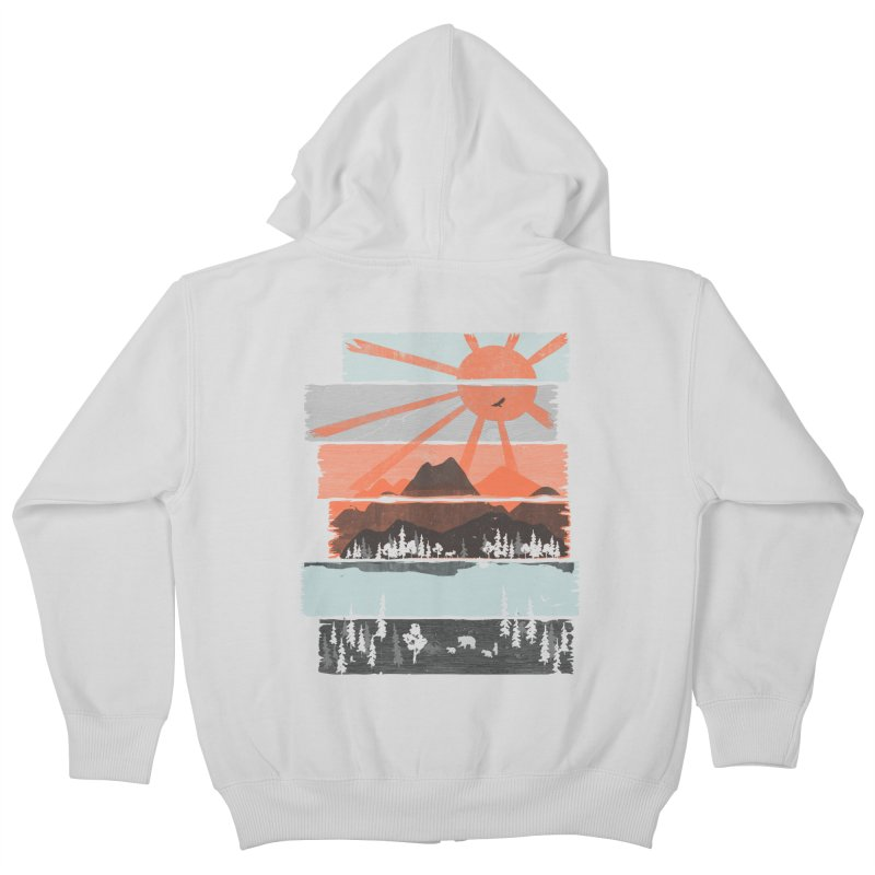 Morning by Bear River... Kids Zip-Up Hoody by NDTank's Artist Shop