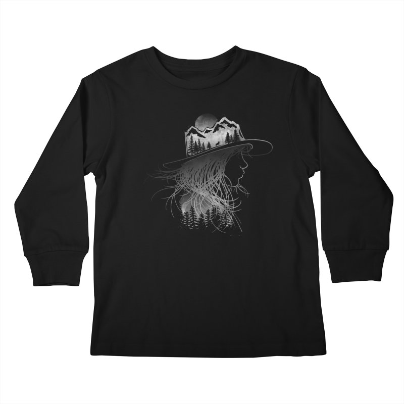 Aurora... (Black & White) Kids Longsleeve T-Shirt by NDTank's Artist Shop