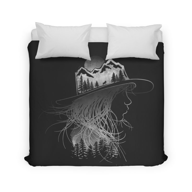 Aurora... (Black & White) Home Duvet by NDTank's Artist Shop